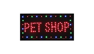 PLACA DE LED PET SHOP - MED. 48X25CM